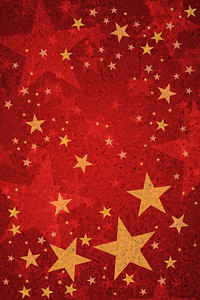 Gold Stars on Red