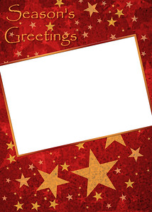 Gold Stars on Red Card 5x7