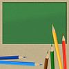 paper pieces with pencils over blackboard