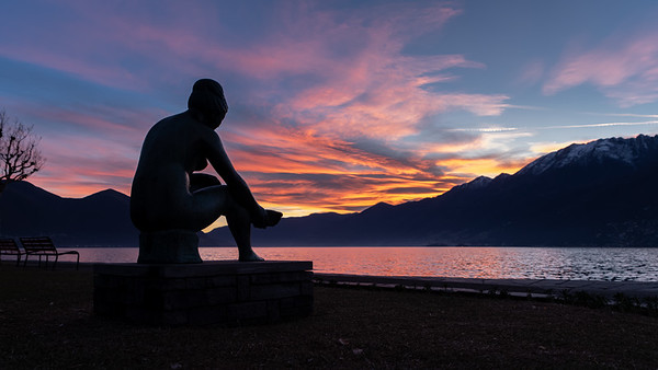 Statue watching the Sunset
