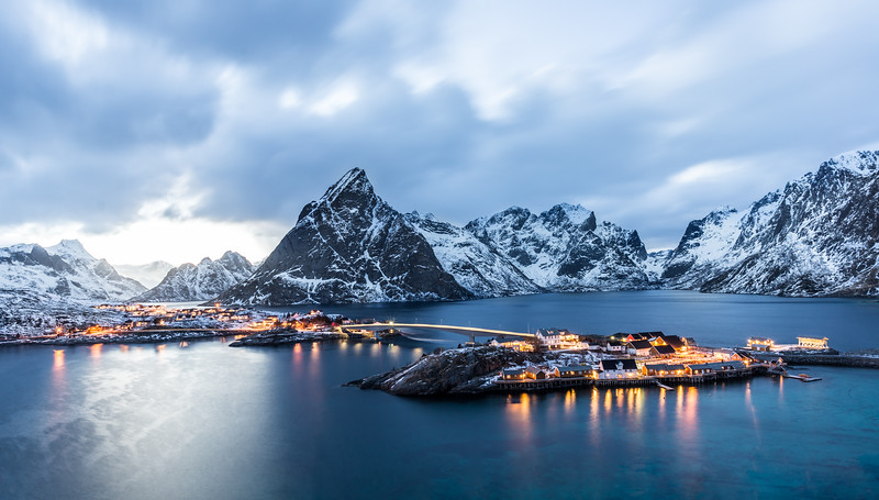 Sakrisoy, Lofoten, Norway at blue hour