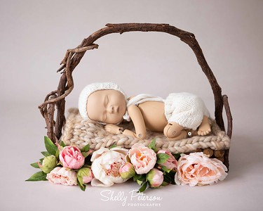 Woodland Bed on Porcelain Background with silk flowers and Cream knit outfit