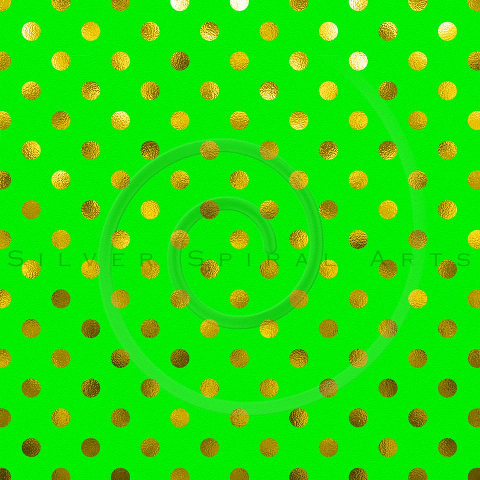 Green Gold Yellow Metallic Foil Polka Dot Pattern Swiss Dots Texture Paper Background