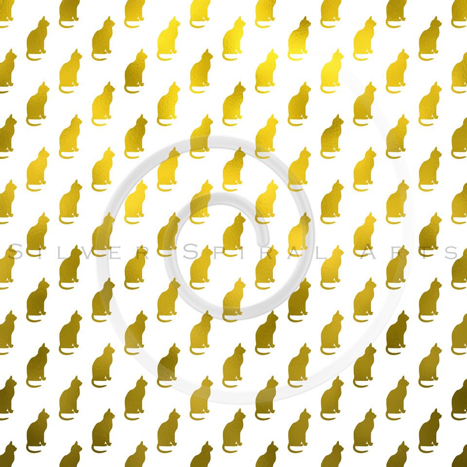 Gold Cat Pattern Faux Foil Metallic Cats Texture Background
