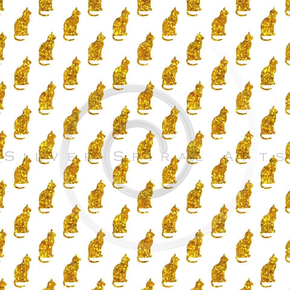 Gold Glitter Cats Pattern Faux Metallic Cat Texture Background