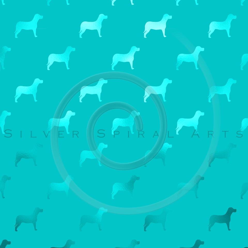 Teal Blue Aqua Dogs Faux Foil Metallic Dog Polka Dots Background Pattern Texture
