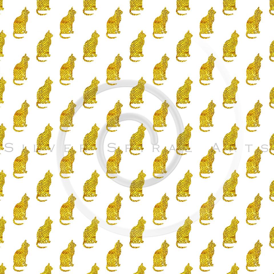 Gold Snakeskin Cat Pattern Faux Foil Metallic Cats Texture Background