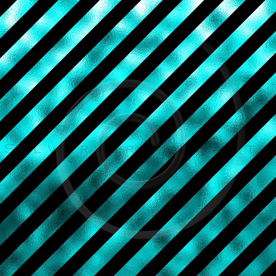 Teal Aqua Turqoise Blue Metallic Faux Foil Diagonal Stripes Background Striped Texture