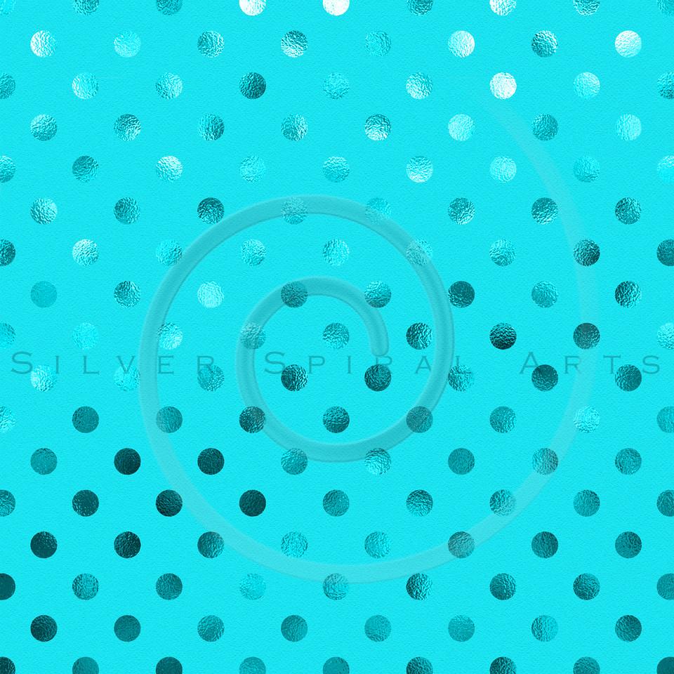 Teal Blue Metallic Foil Polka Dot Pattern Swiss Dots Texture Paper Background