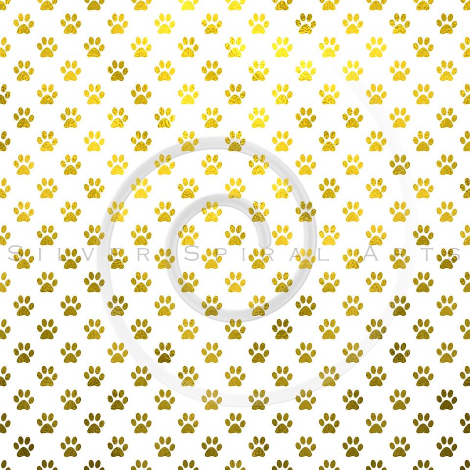 Gold White Dog Paw Metallic Foil Polka Dot Texture Background Pattern