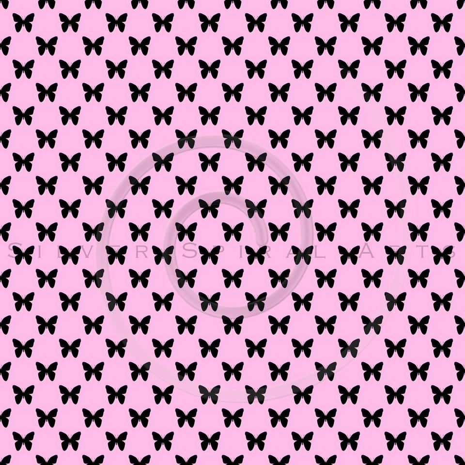 Pink Black Butterflies Polka Dot Background Pattern Texture