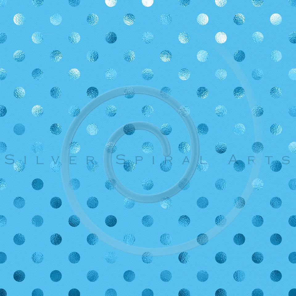 Blue Metallic Foil Polka Dot Pattern Swiss Dots Texture Paper Background