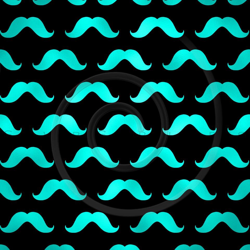 Teal Blue Black Mustache Faux Foil Metallic Mustaches Polka Dot Pattern