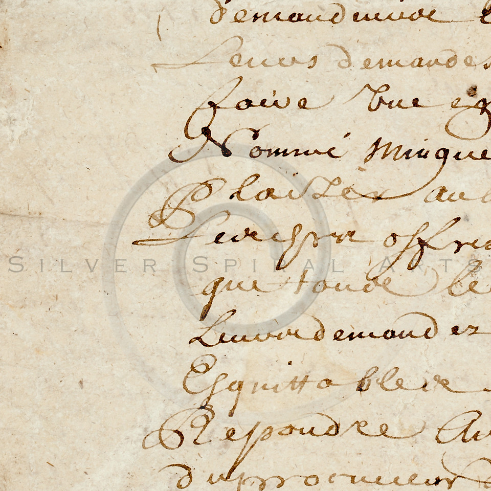 Vintage Parchment 1700s French Script Writing Text Background