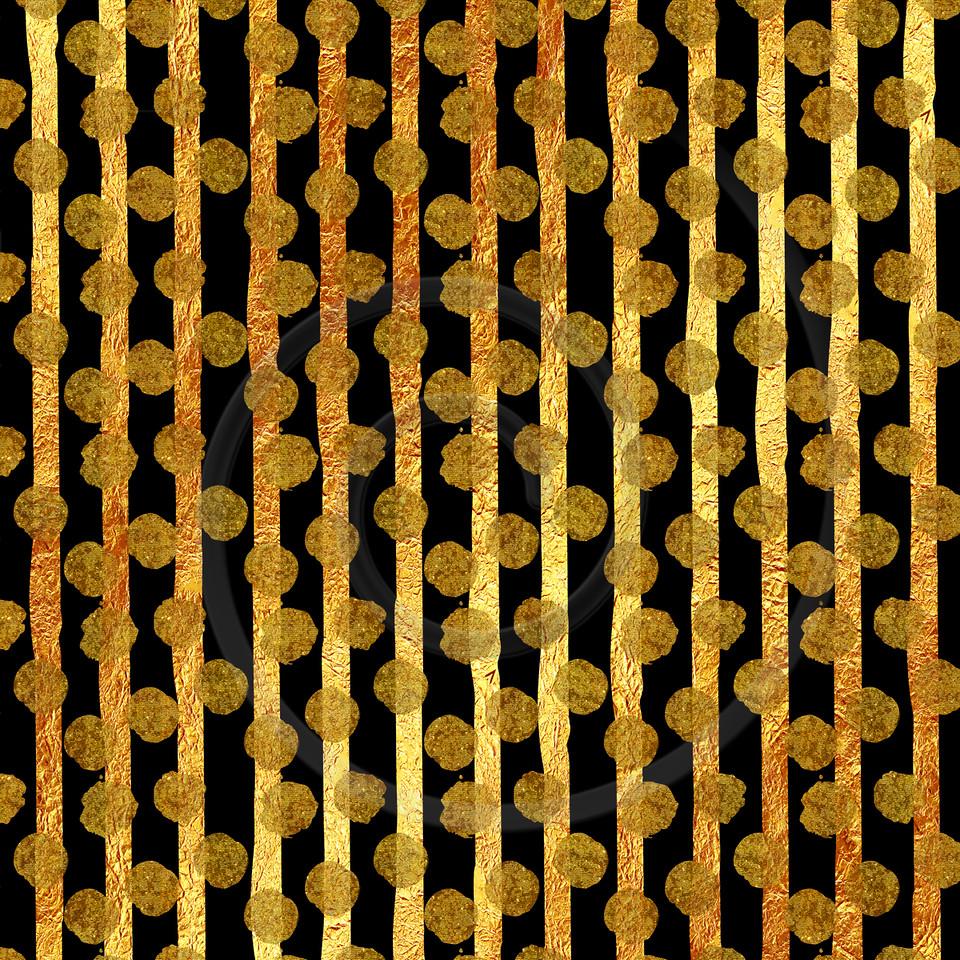 Faux Gold Foil Glitter Stripes Polka Dots Pattern