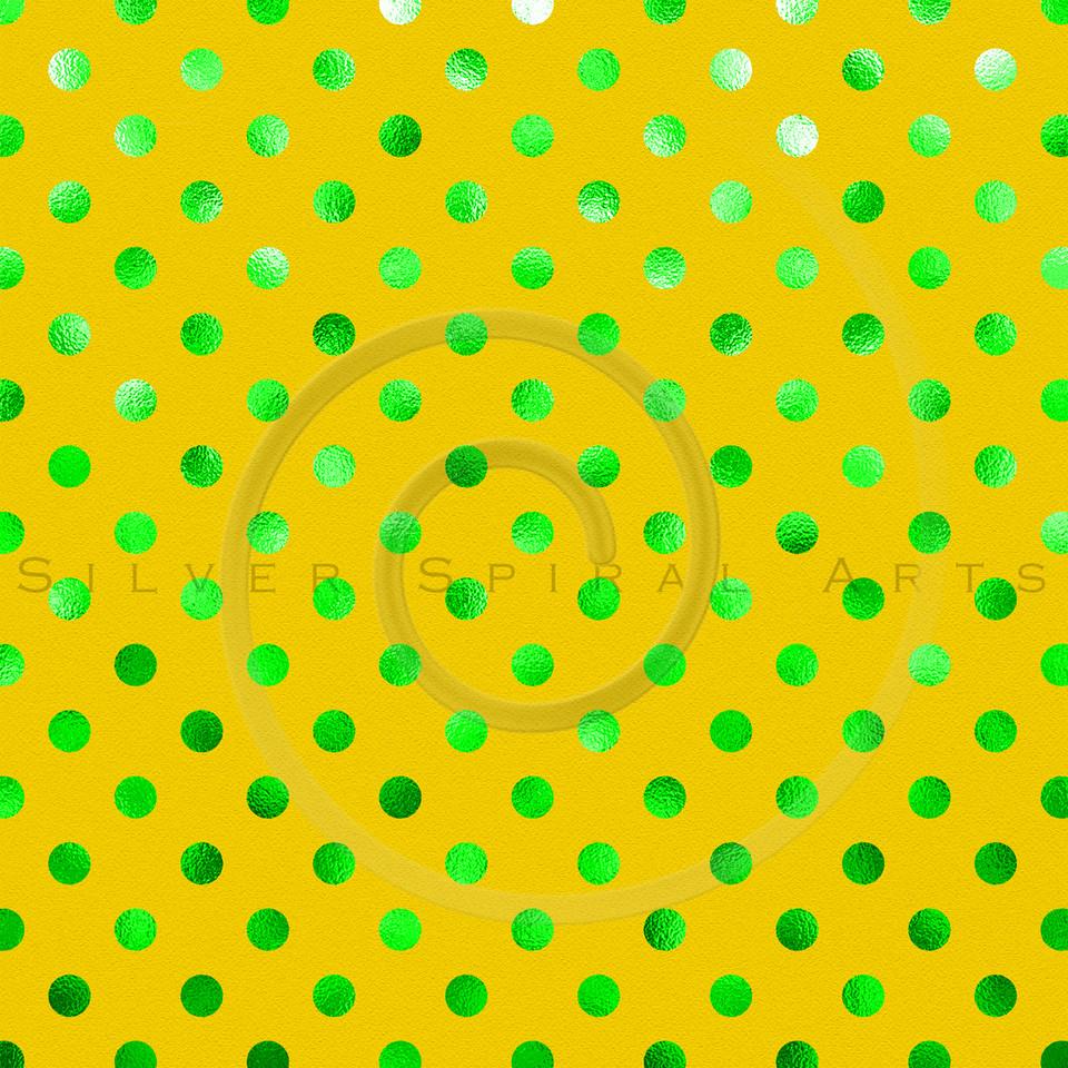 Green Yellow Metallic Foil Polka Dot Pattern Swiss Dots Texture Paper Background