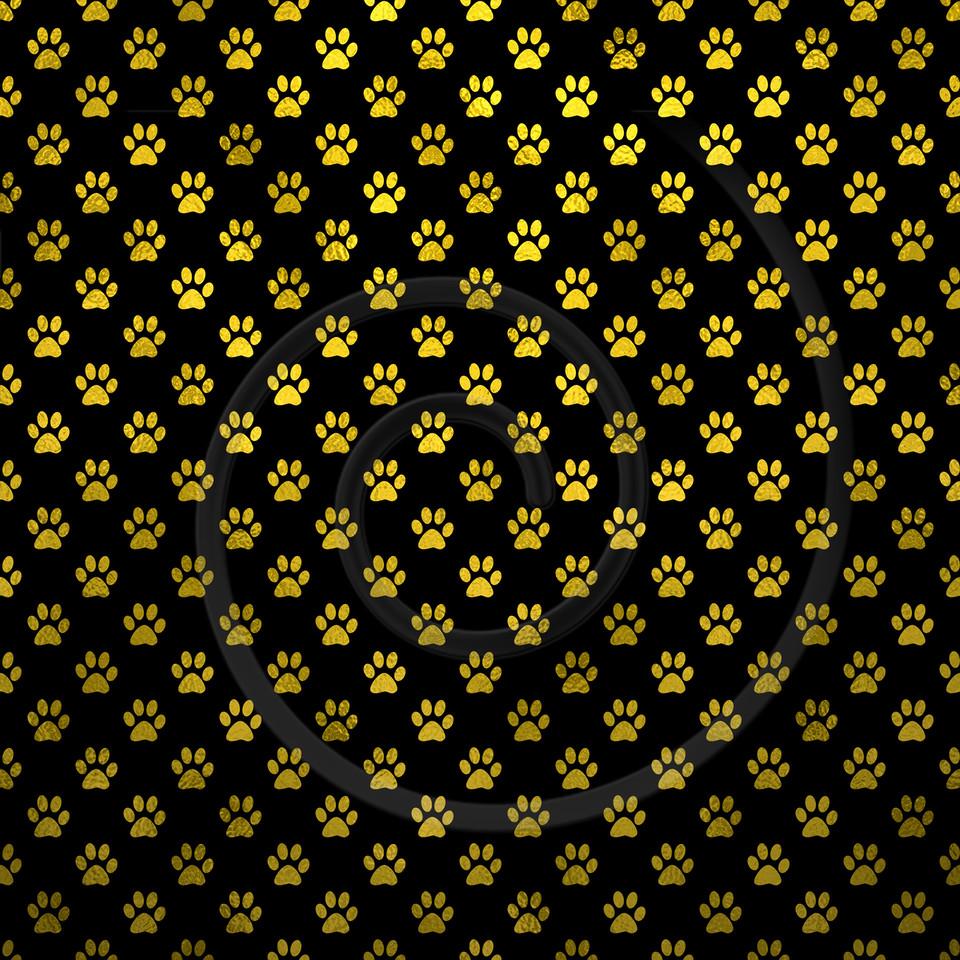 Gold Black Dog Paw Metallic Foil Polka Dot Texture Background Pattern
