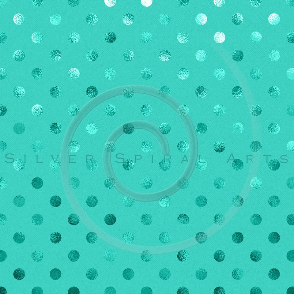 Aqua Blue Green Metallic Foil Polka Dot Pattern Swiss Dots Texture Paper Background