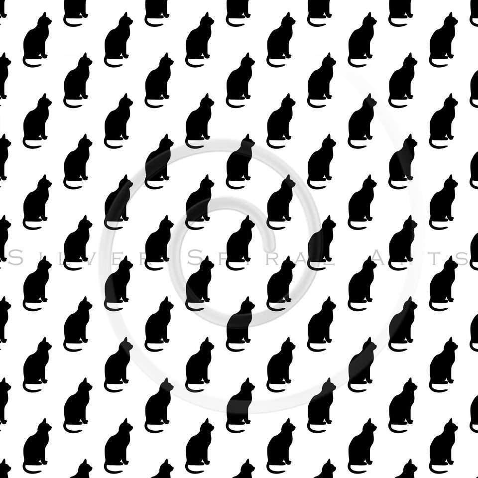 Black and White Silhouette Cats Pattern Cat Texture Background