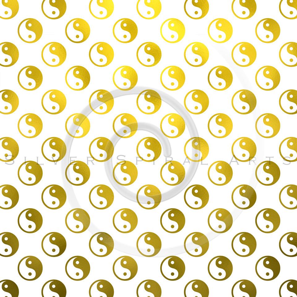 Gold White Faux Foil Metallic Yin Yang Tao Balance Chinese Taoism Symbol  Background Texture Pattern