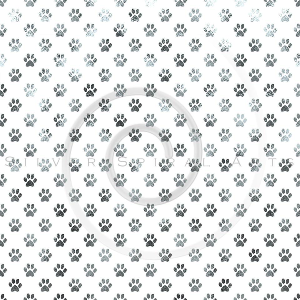 Dog Paw White Silver Metallic Foil Polka Dot Texture Background Pattern