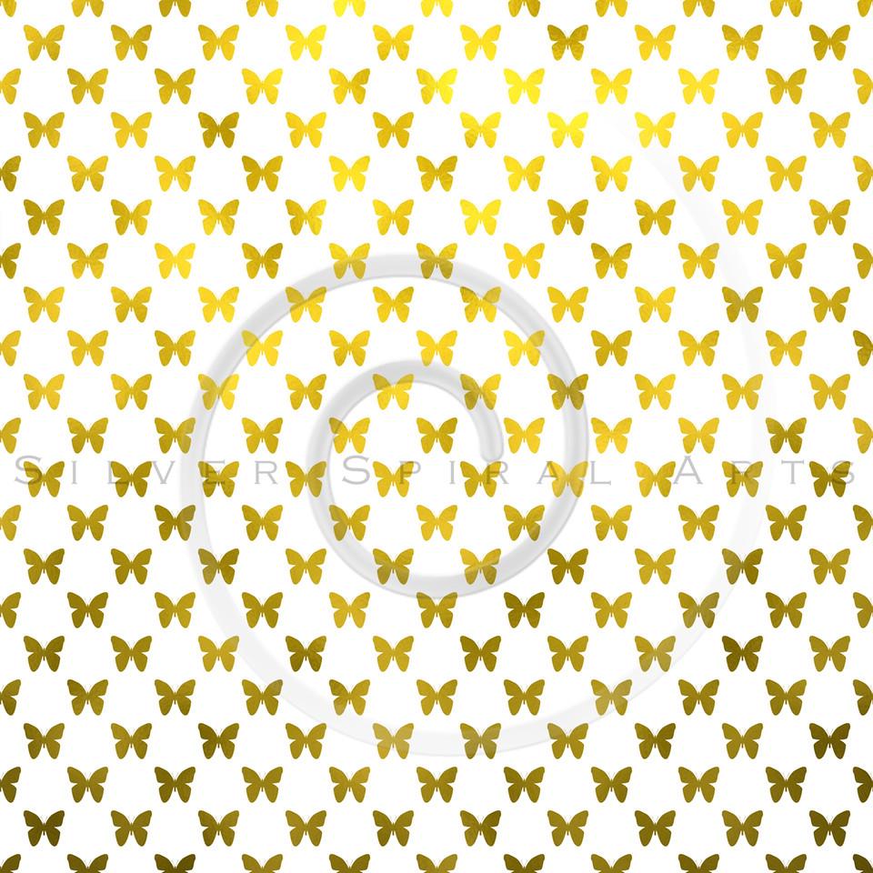 Gold White Butterflies Polka Dot Metallic Faux Foil Background Pattern Texture