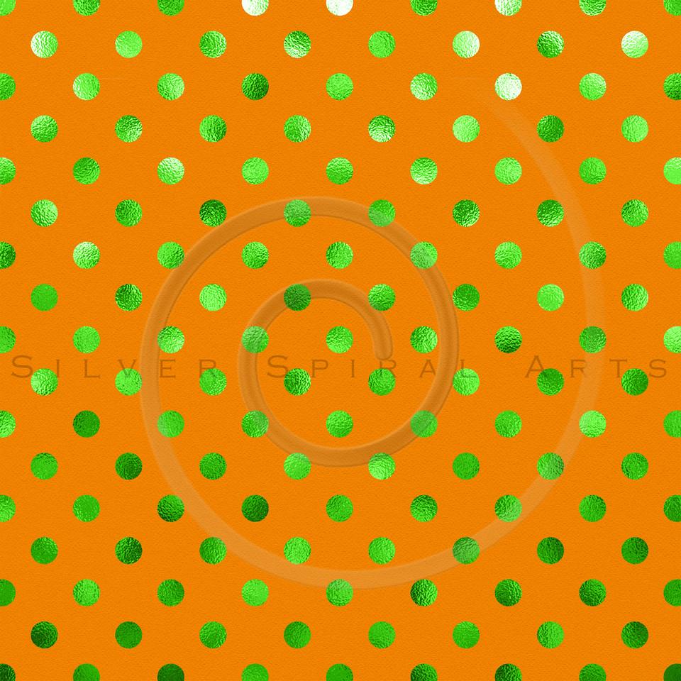 Orange Green Metallic Foil Polka Dot Pattern Swiss Dots Texture Paper Background