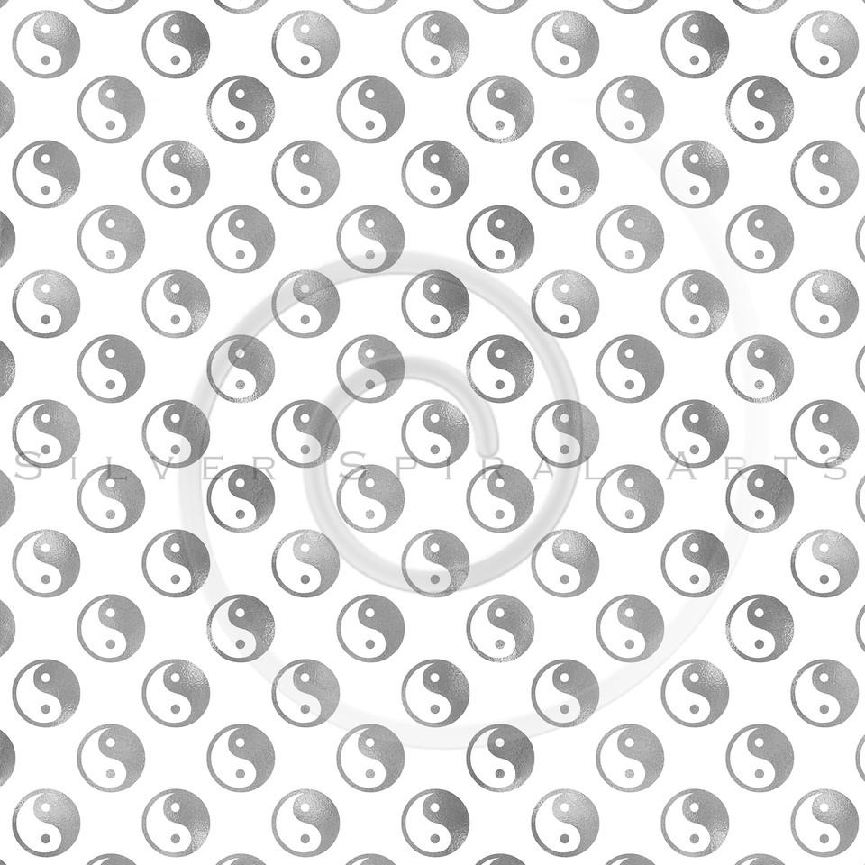 Silver Gray Faux Foil Yin Yang Tao Balance Metallic Chinese Taoism Symbol  Background Texture Pattern