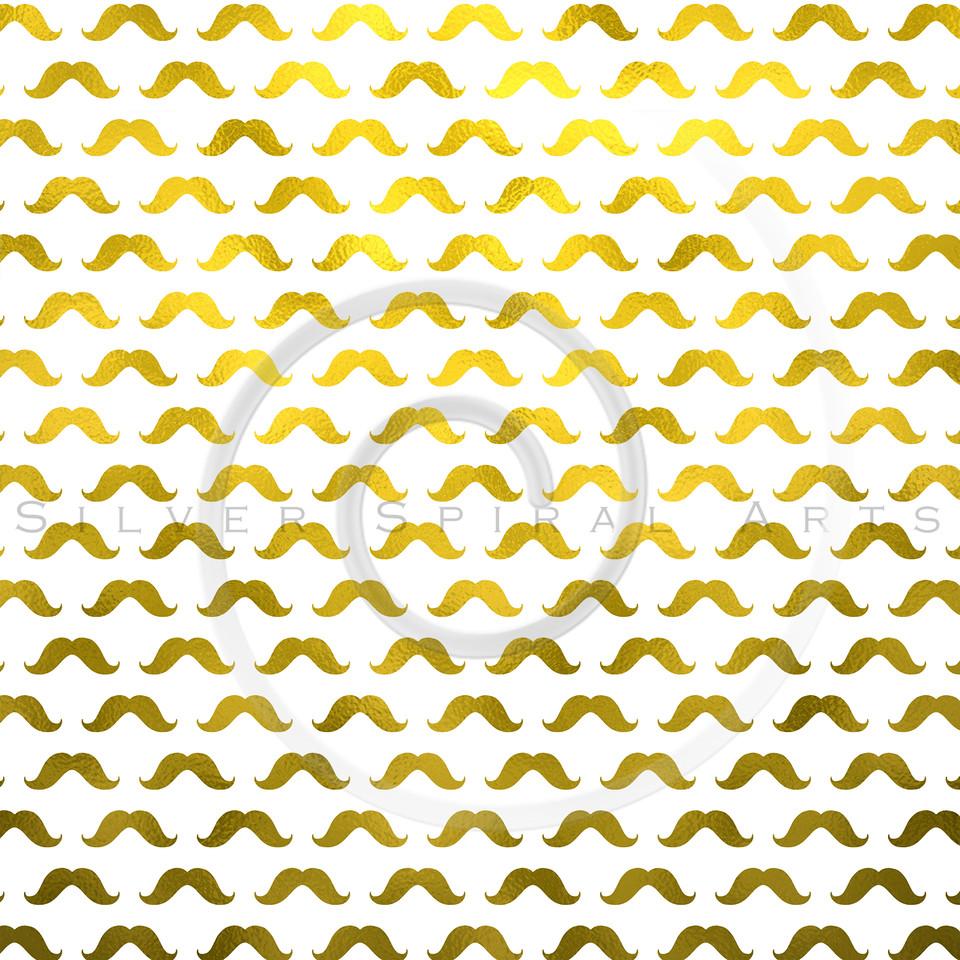Gold Mustache Faux Foil Metallic Mustaches Polka Dot Pattern