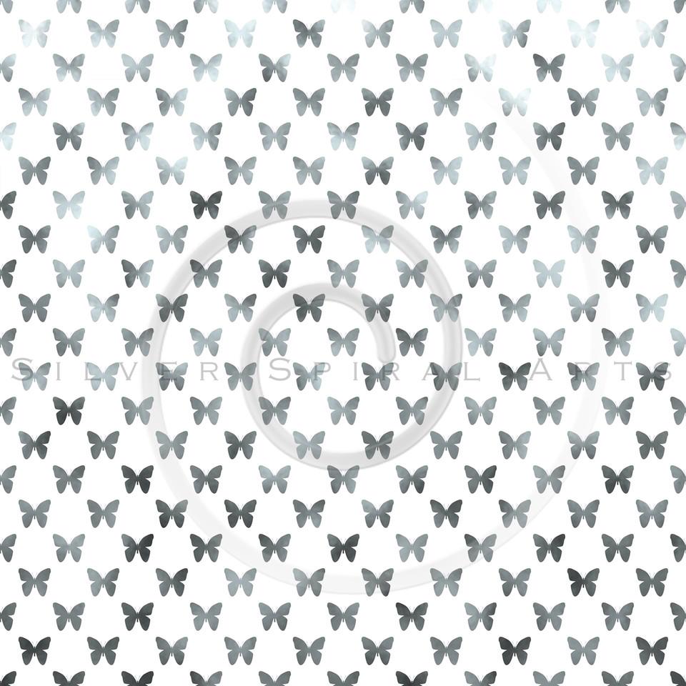 Silver White Butterflies Polka Dot Metallic Faux Foil Background Pattern Texture