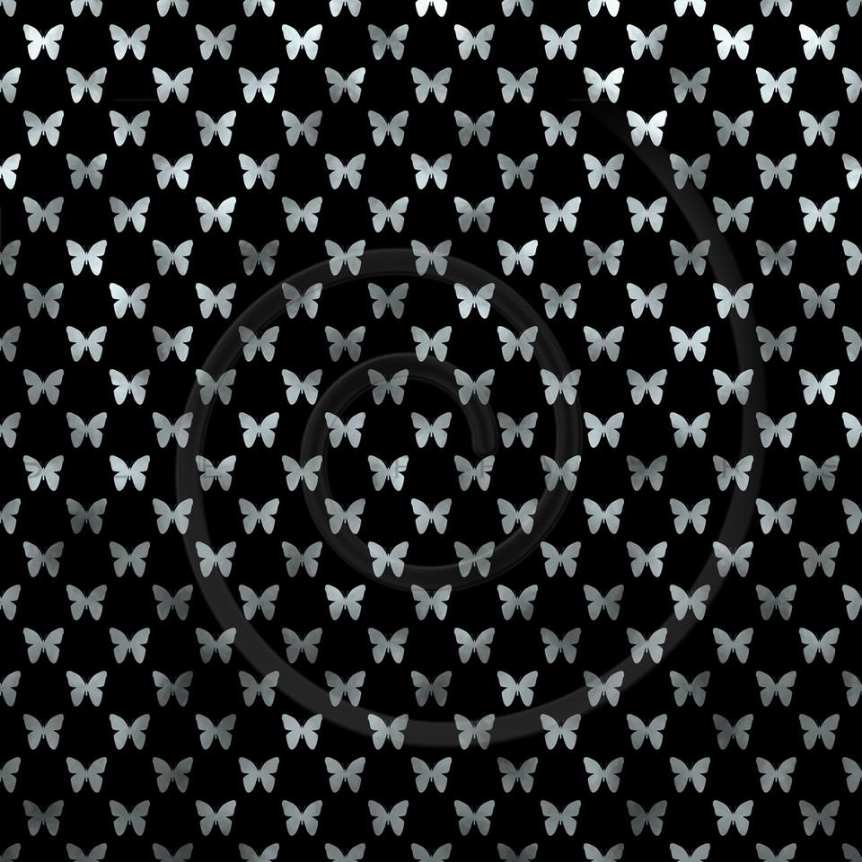 Silver Black Butterflies Polka Dot Metallic Faux Foil Background Pattern Texture