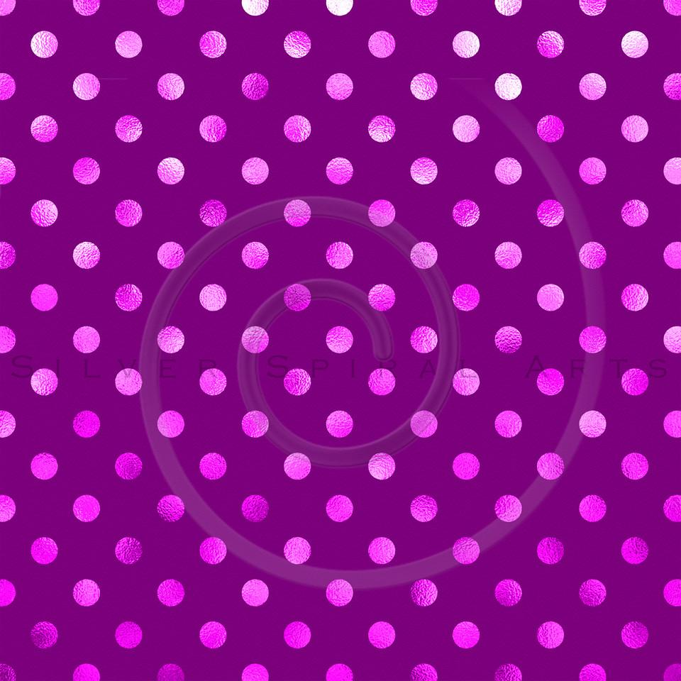 Hot Pink Deep Orchid Purple Metallic Foil Polka Dot Pattern Swiss Dots Texture Paper Background