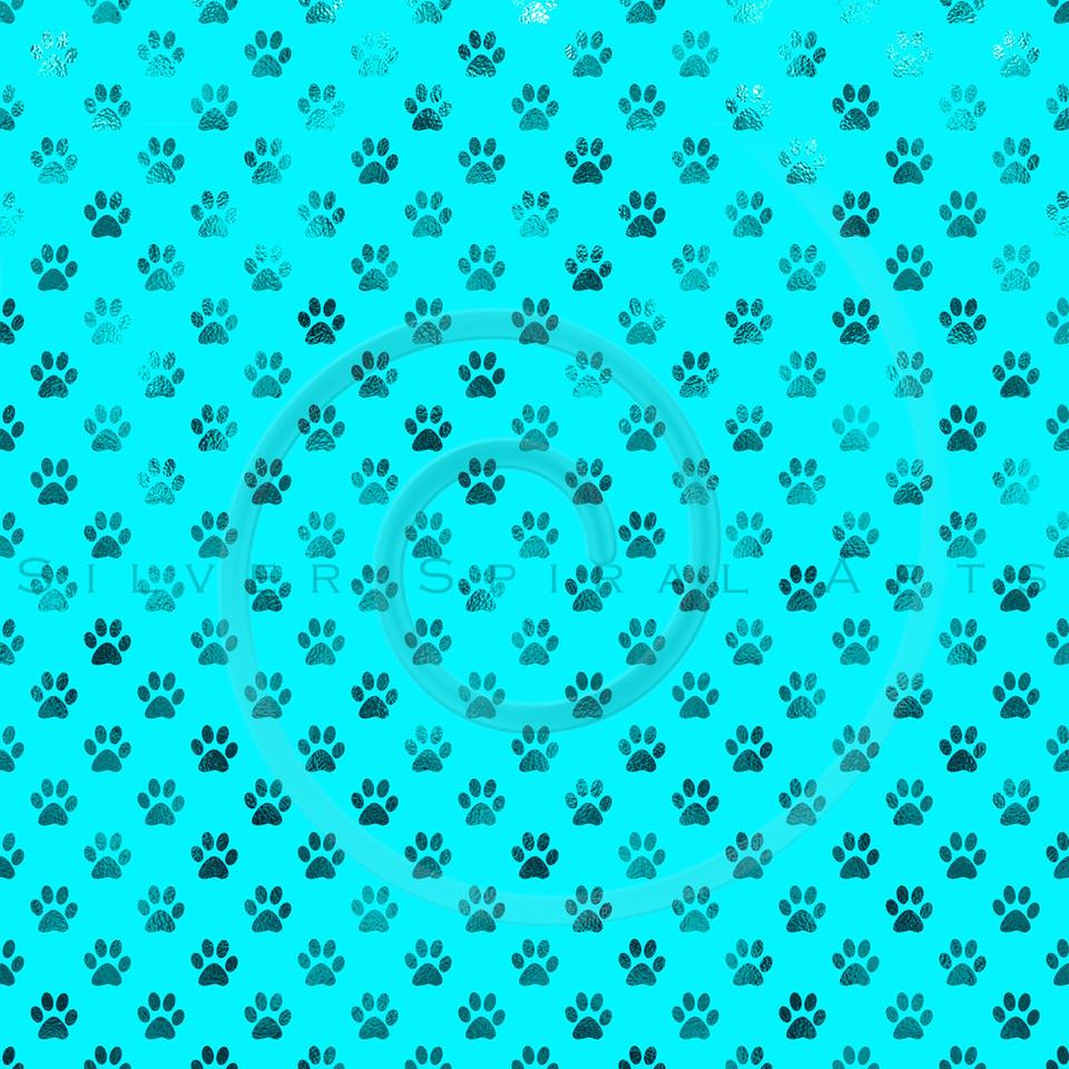Teal Blue Dog Paw Metallic Foil Polka Dot Texture Background Pattern