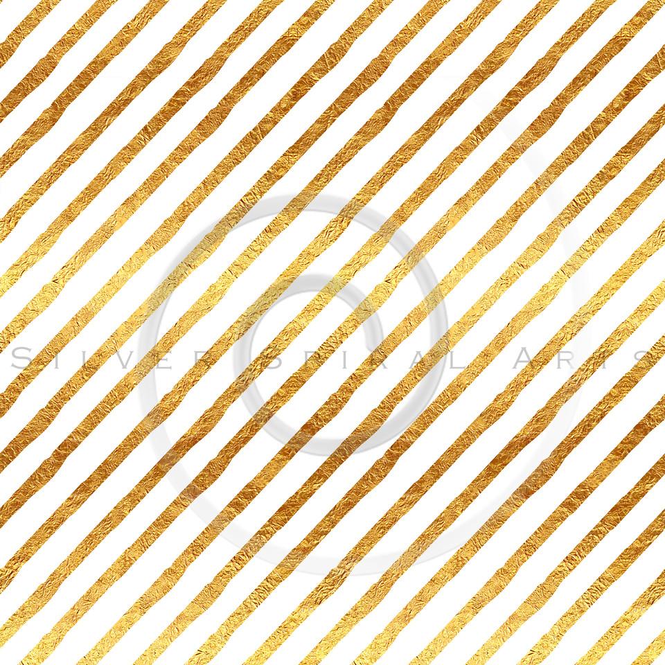 Gold Stripes Faux Foil Metallic White Background Pattern
