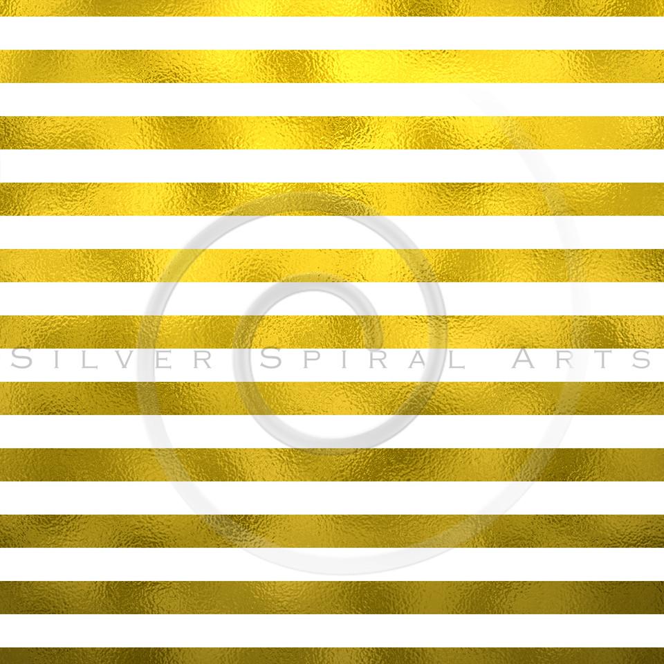 Gold Foil Metallic Horizontal Stripes on White Background Striped Texture
