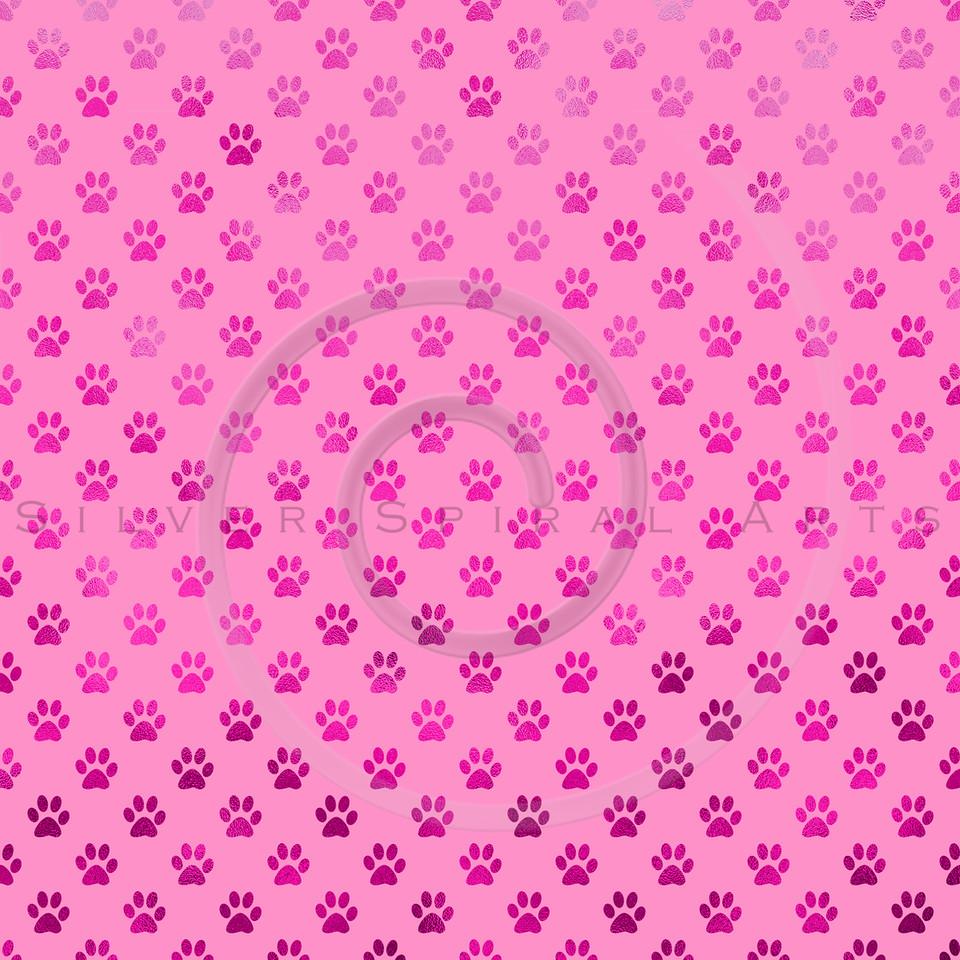 Pink Dog Paw Metallic Foil Polka Dot Texture Background Pattern