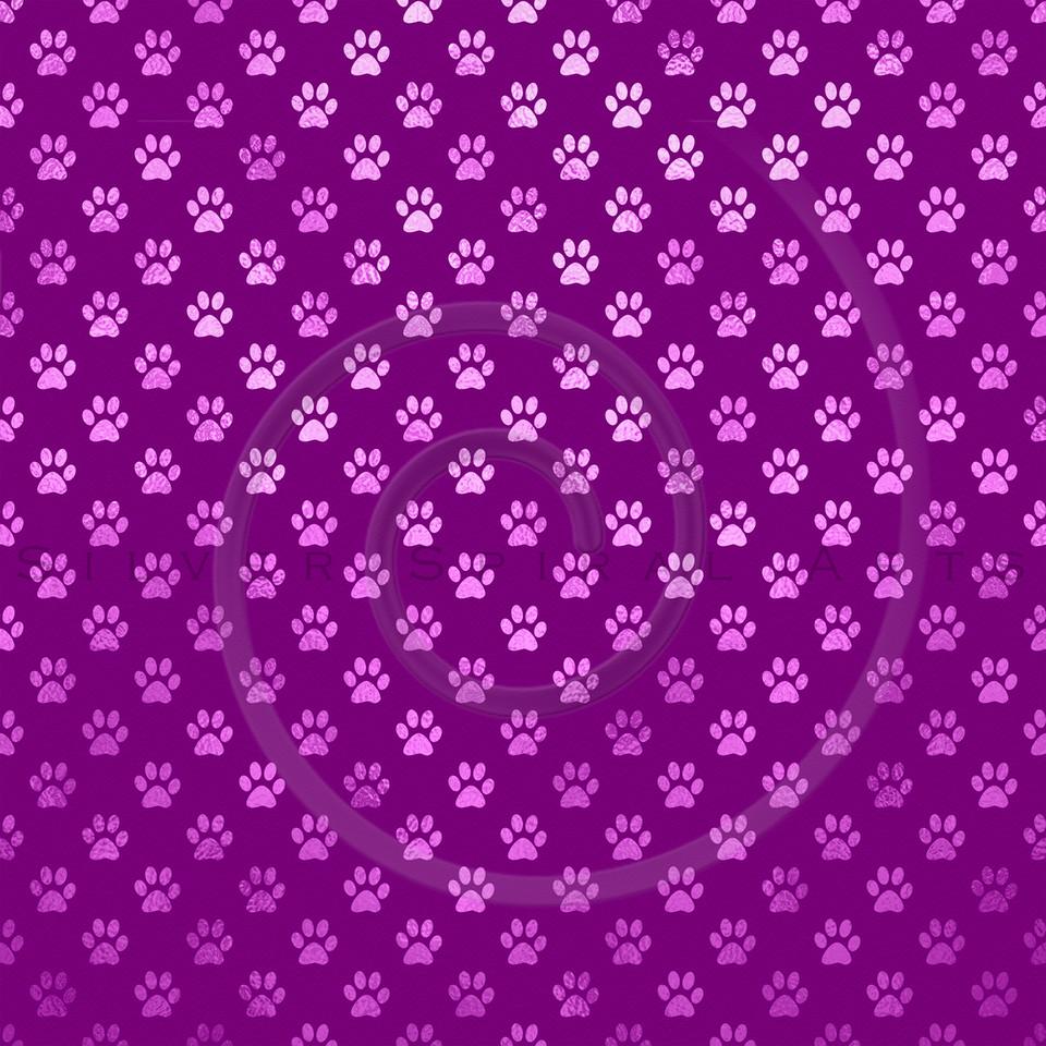 Pink Purple Dog Paw Metallic Foil Polka Dot Texture Background Pattern