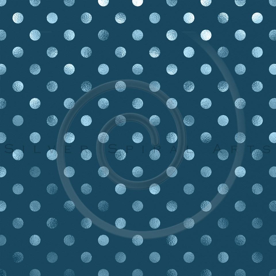 Teal Blue Slate Metallic Foil Polka Dot Pattern Swiss Dots Texture Paper Background