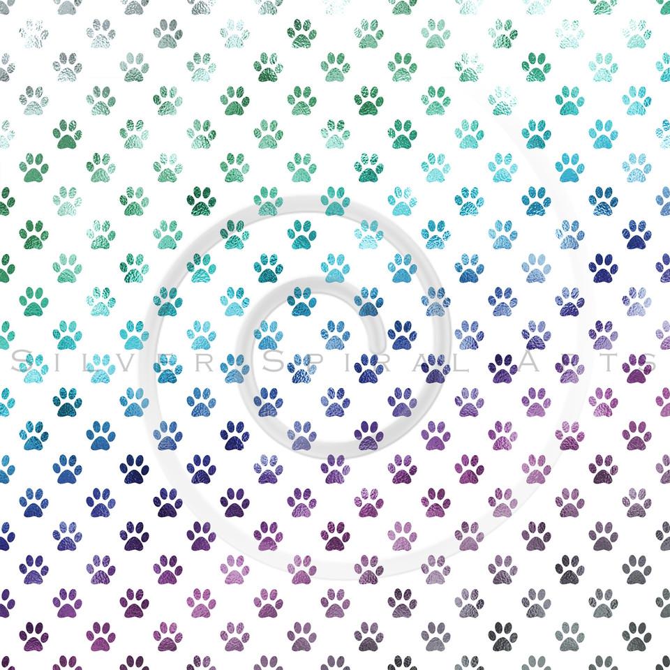 Rainbow Dog Paw Metallic Foil Polka Dot Texture Background Pattern