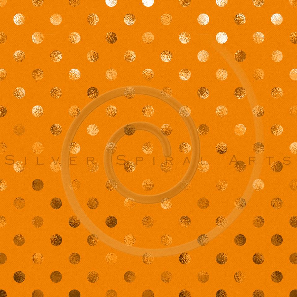 Orange Metallic Foil Polka Dot Pattern Swiss Dots Texture Paper Background