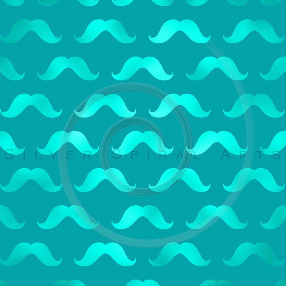 Teal Blue Mustache Faux Foil Metallic Mustaches Polka Dot Pattern