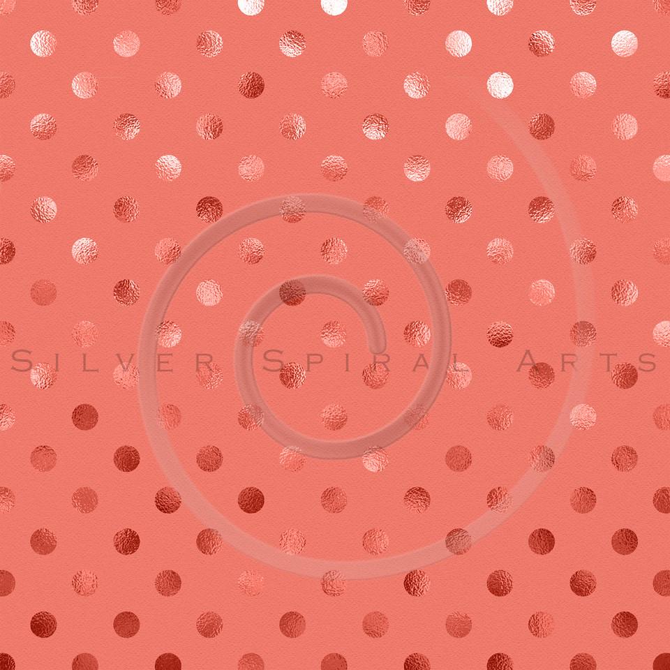 Peach Apricot Pink Metallic Foil Polka Dot Pattern Swiss Dots Texture Paper Background