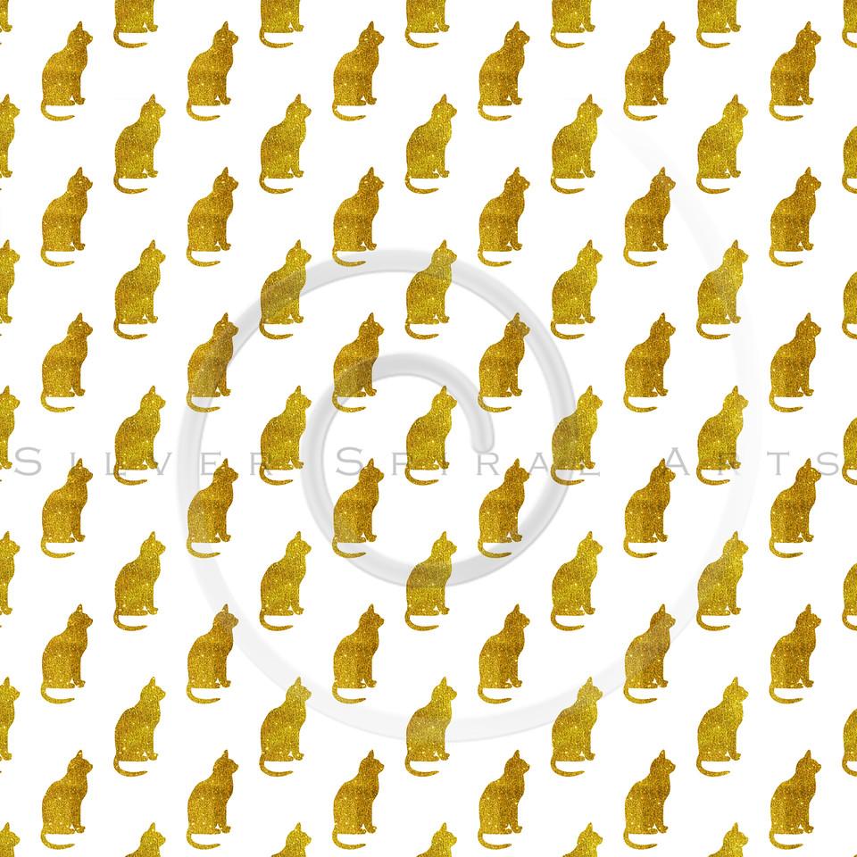 Gold Glitter Cat Pattern Faux Metallic Cats Texture Background