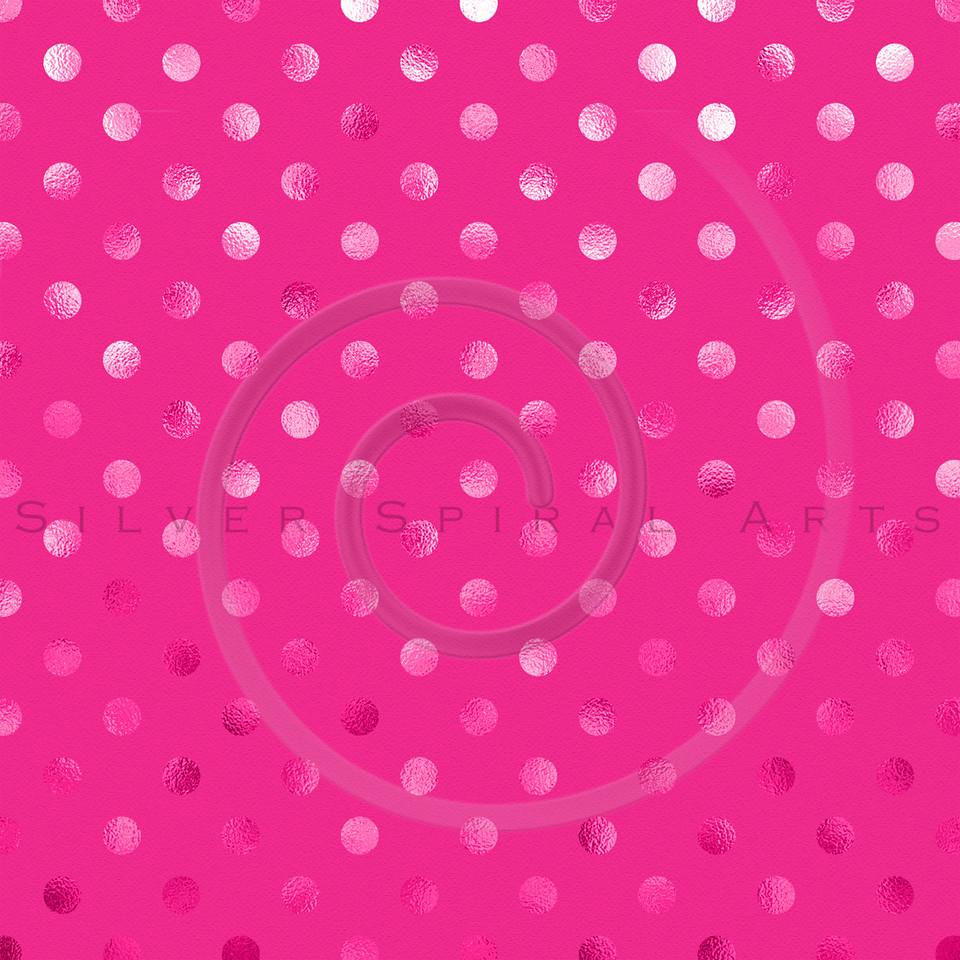Hot Pink Metallic Foil Polka Dot Pattern Swiss Dots Texture Paper Background