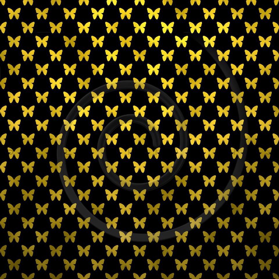 Gold Black Butterflies Polka Dot Metallic Faux Foil Background Pattern Texture