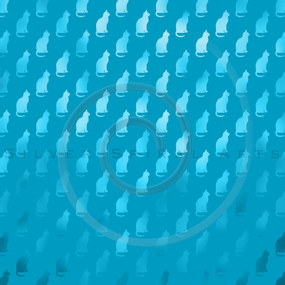 Teal Blue Cats Pattern Faux Foil Metallic Cat Texture Background