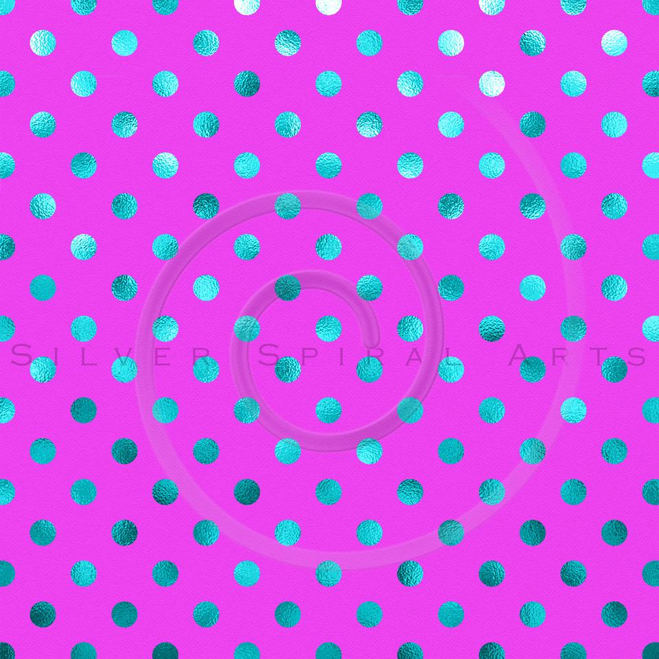 Pink Teal Blue Metallic Foil Polka Dot Pattern Swiss Dots Texture Paper Background
