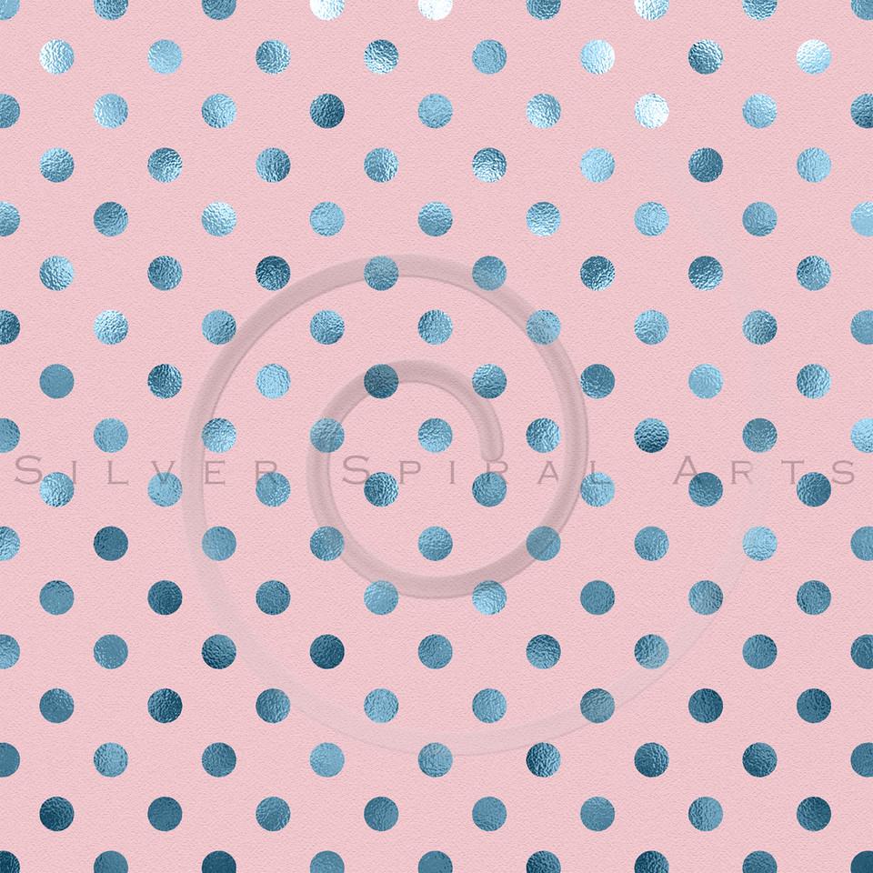 Pink Blue Metallic Foil Polka Dot Pattern Swiss Dots Texture Paper Background