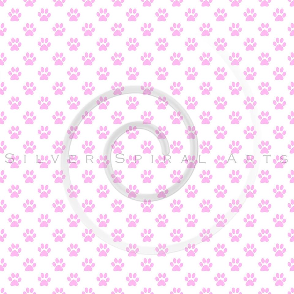 Dog Paws Pink White Polka Dot Texture Background Pattern