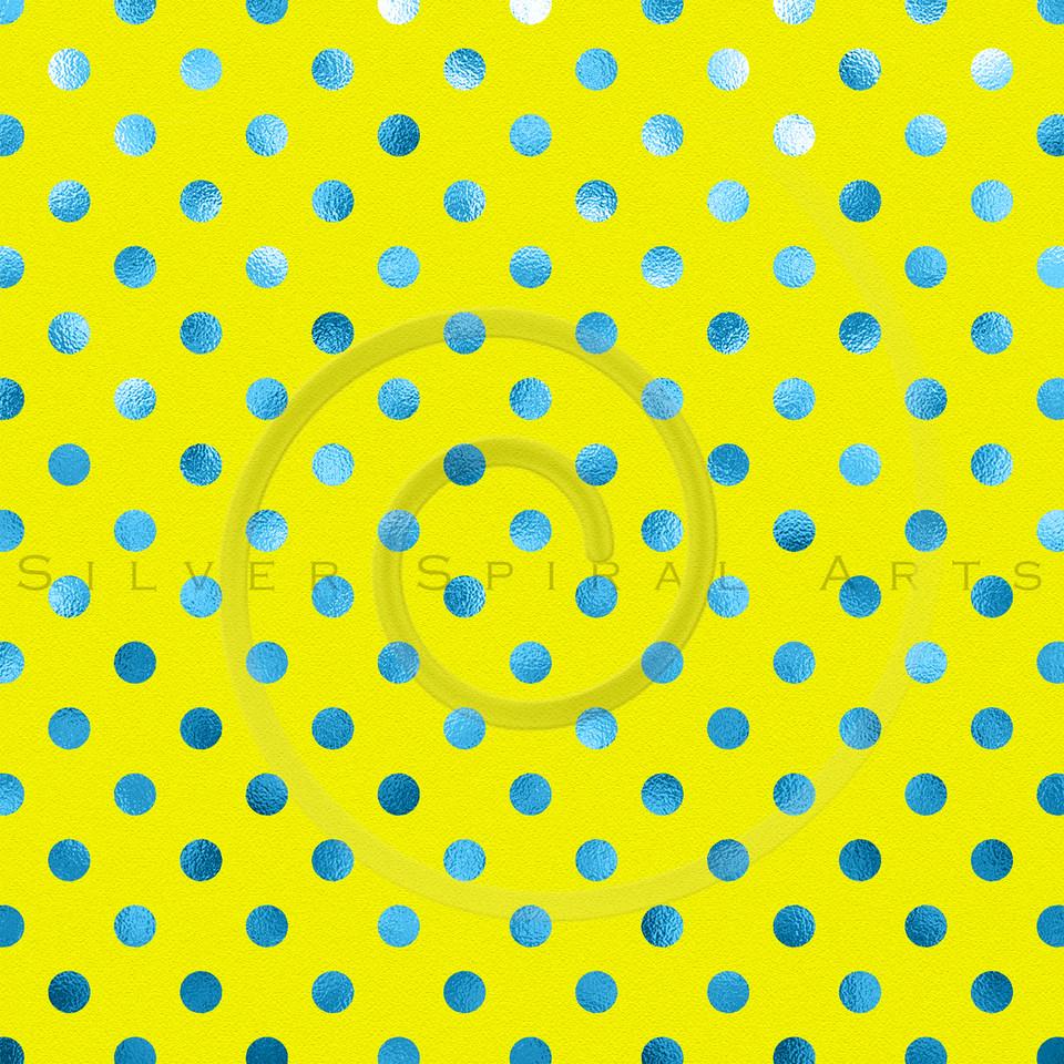 Lemon Yellow Blue Metallic Foil Polka Dot Pattern Swiss Dots Texture Paper Background